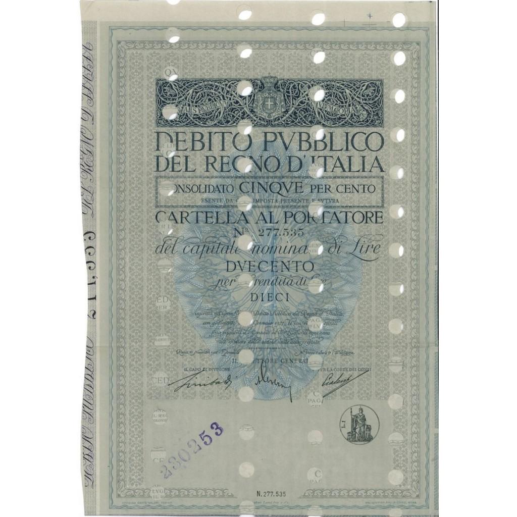 CARTELLA 200 LIRE - D.PUBBLICO CONSOLIDATO 5% REGNO D'ITALIA 1926