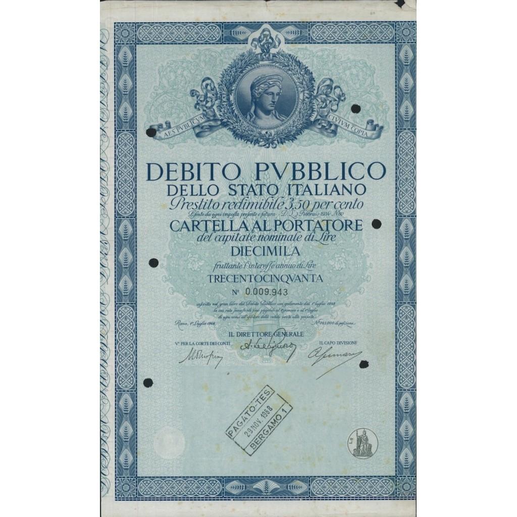 CARTELLA 10000 LIRE INTERESSE 3,50 % ITALIA 1948
