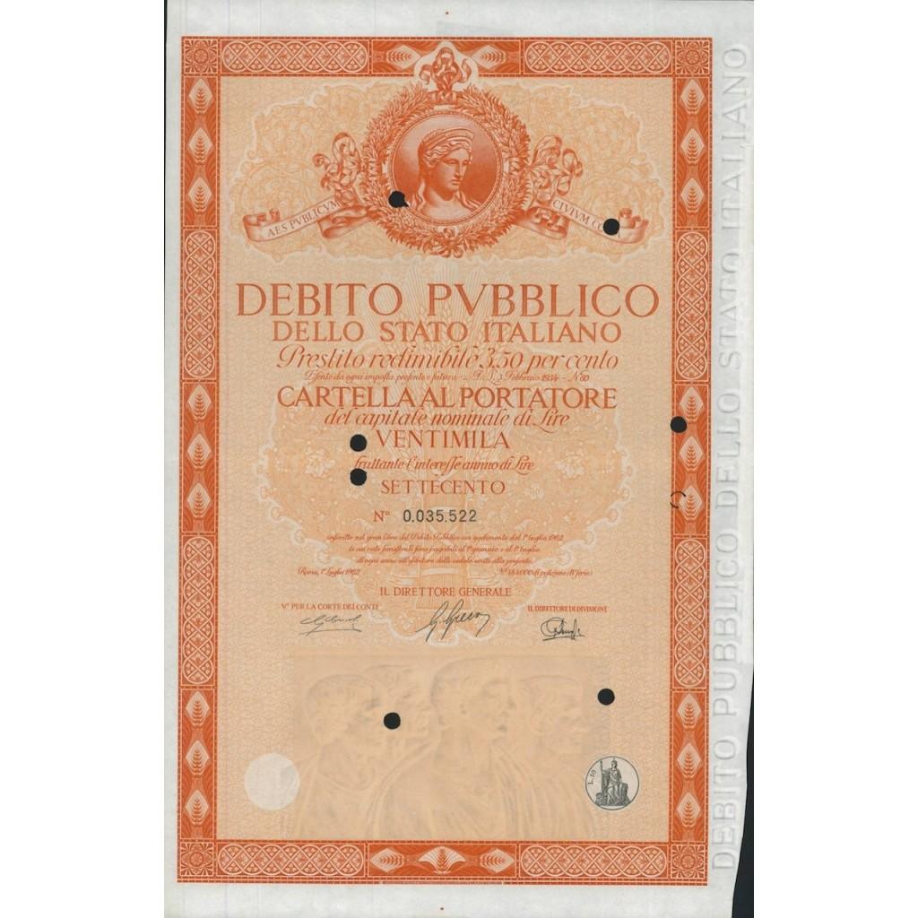 CARTELLA 20000 LIRE INTERESSE 3,50 % ITALIA 1962