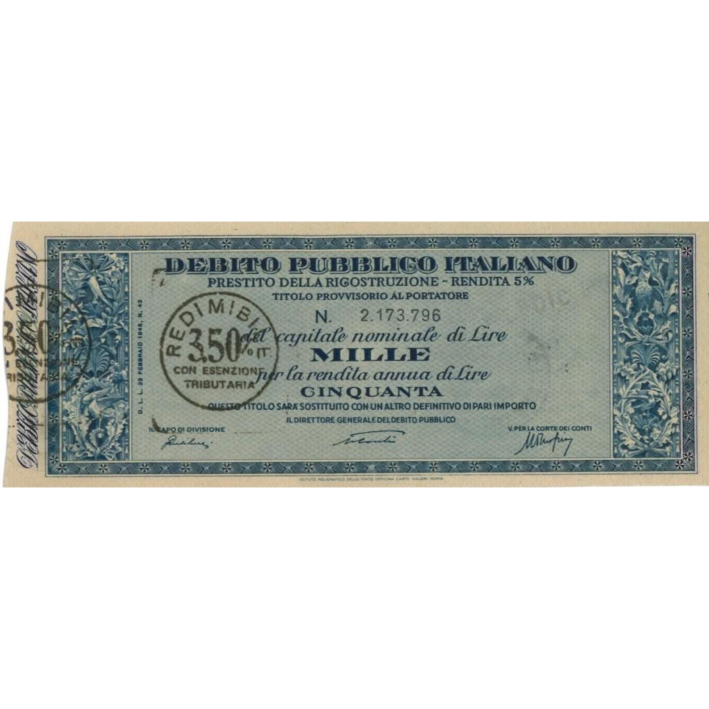 TITOLO PROVVISORIO 1000 LIRE - P. DELLA RICOSTRUZIONE 1946