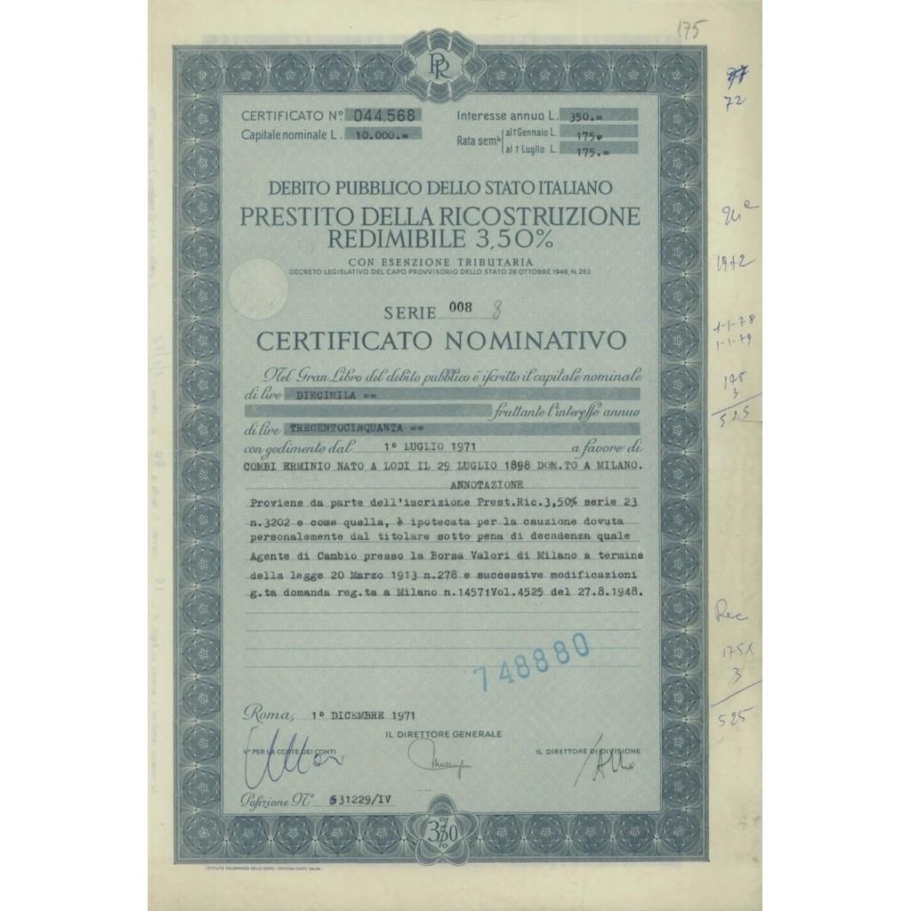 CERTIFICATO NOMINATIVO - P. DELLA RICOSTRUZIONE 3,50% - 1971
