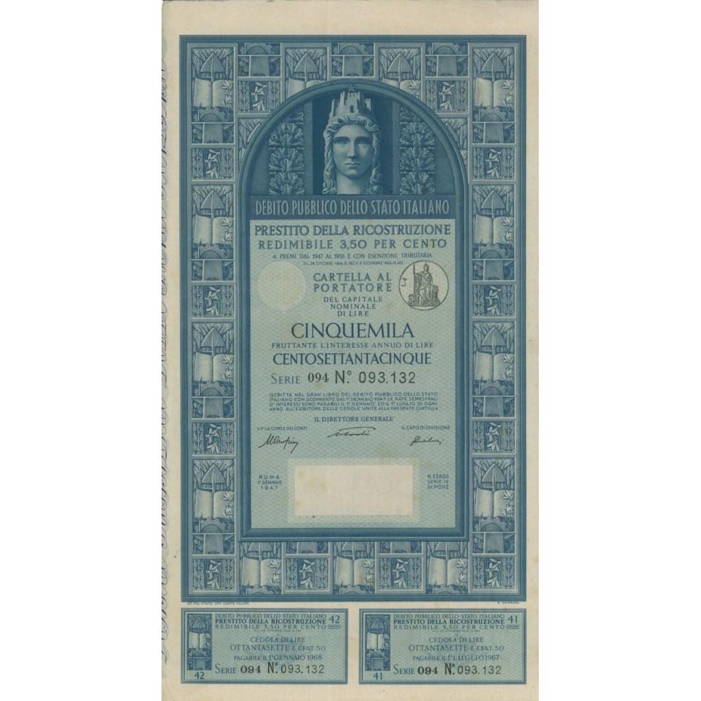 CARTELLA 5000 LIRE - P. DELLA RICOSTRUZIONE 3,50% - 1947