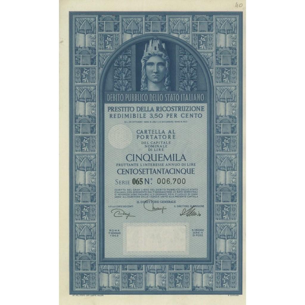 CARTELLA 5000 LIRE - P. DELLA RICOSTRUZIONE 3,50% - 1968