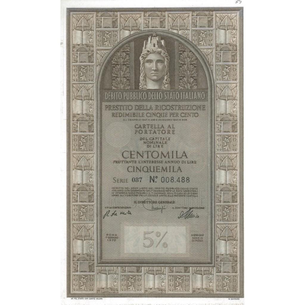 CARTELLA 100000 LIRE - P. DELLA RICOSTRUZIONE 5% - 1972