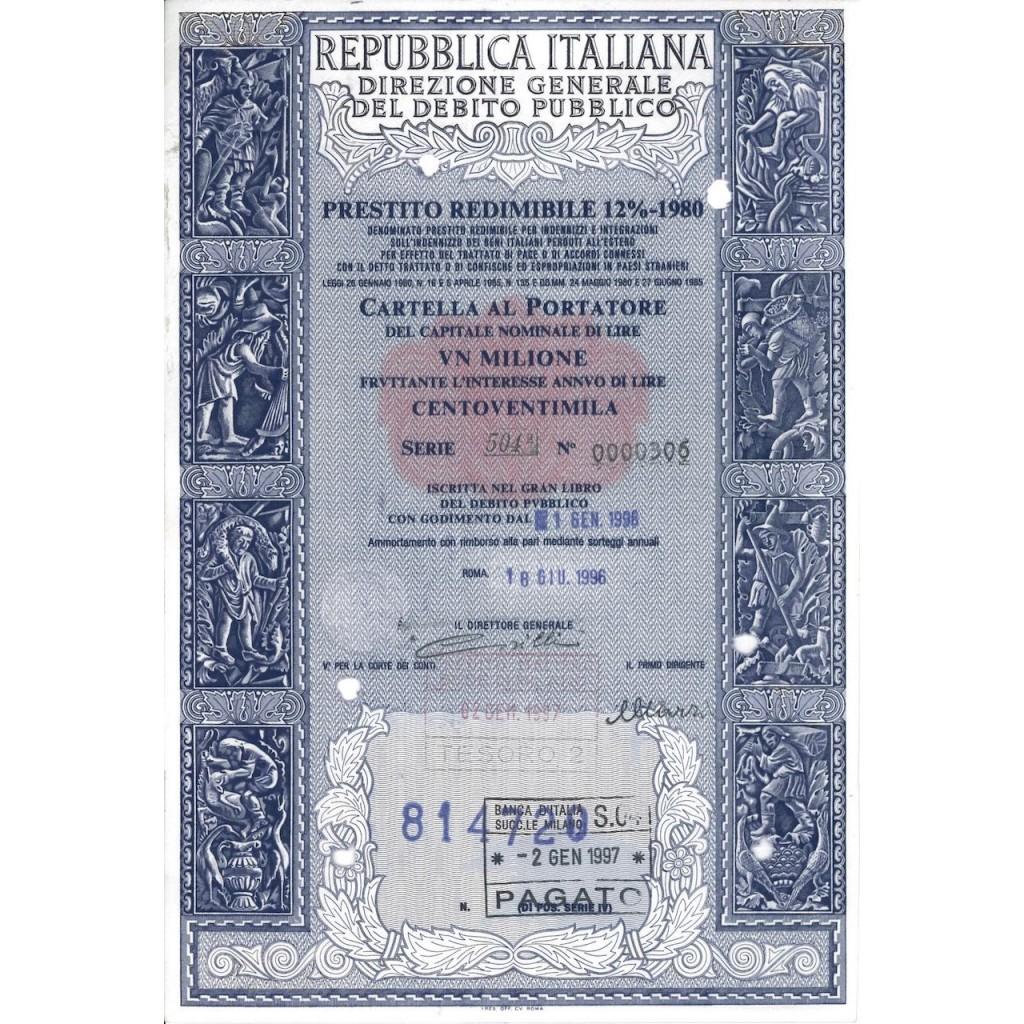 CARTELLA 1000000 LIRE - PRESTITO REDIMIBILE 12% - 1980