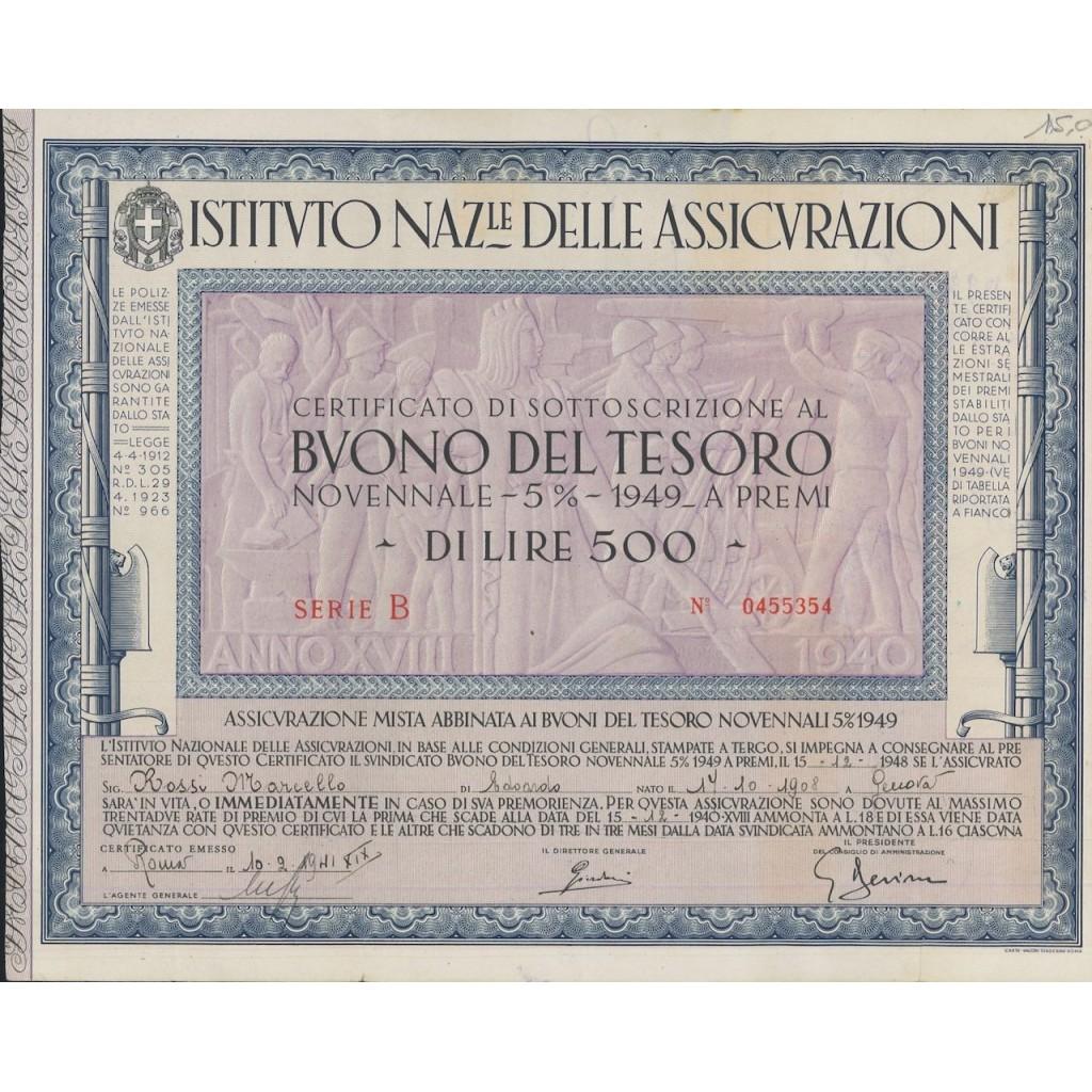 BTP NOVENNALE 500 LIRE SERIE B - IST. NAZ. DELLE ASSICURAZIONI 1941