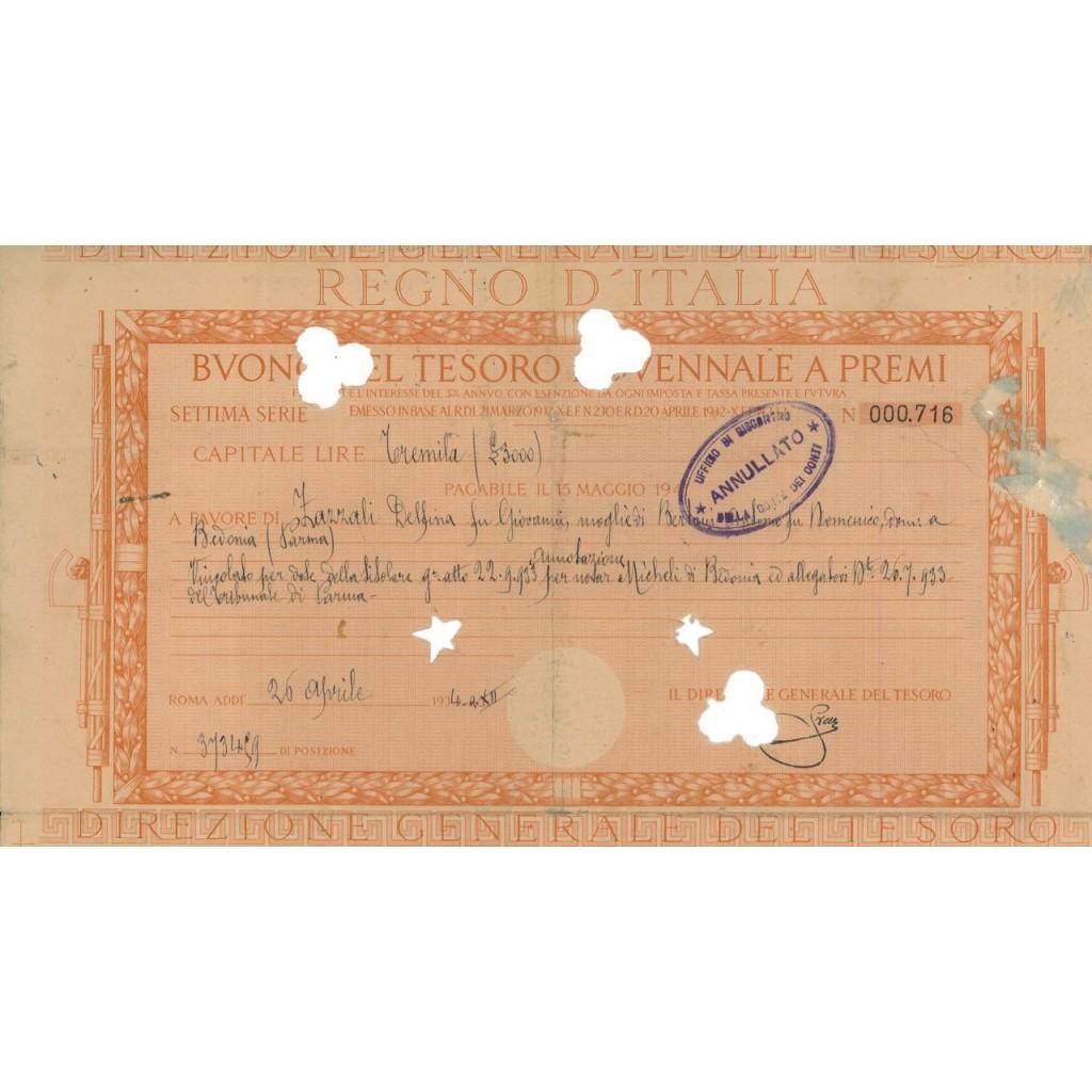 BUONO DEL TESORO NOVENNALE - SETTIMA SERIE ROMA 1934