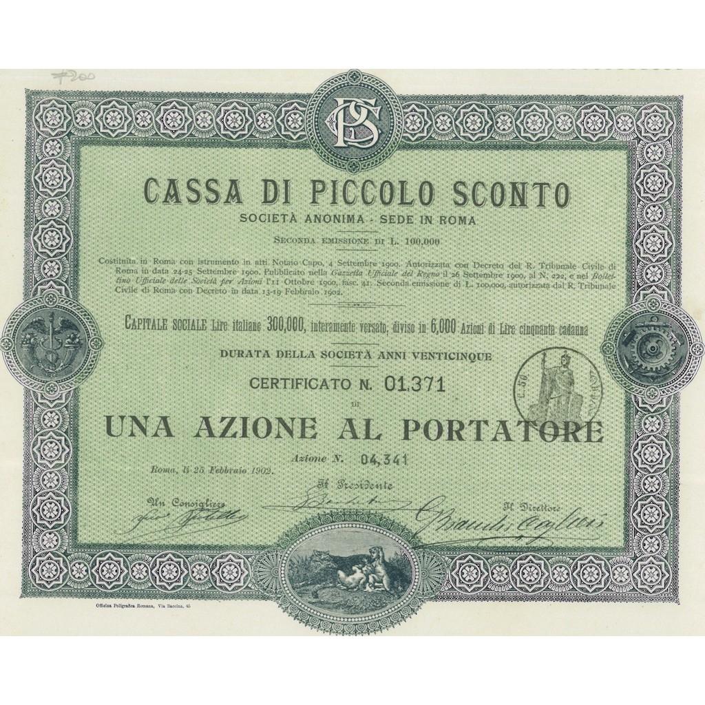 18cb766e81 CASSA DI PICCOLO SCONTO 1 AZIONE ROMA 1902