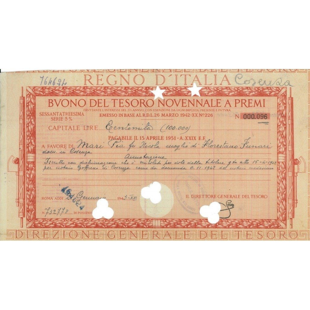 BUONO DEL TESORO NOVENNALE - 63ESIMA SERIE ROMA 1943