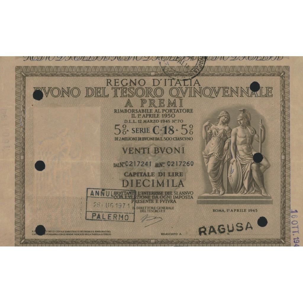 BUONO DEL TESORO QUINQUENNALE - SERIE C18 RAGUSA 1945