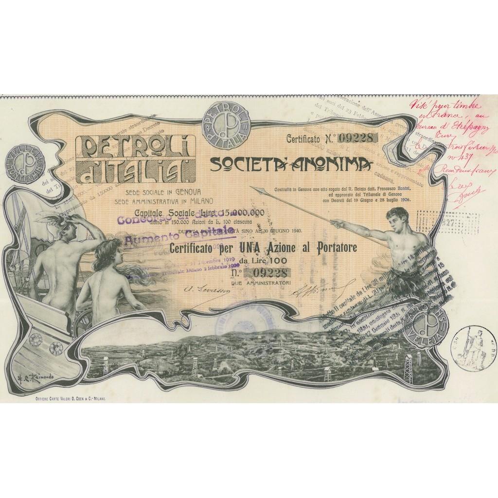 SOC. ANON. PETROLI D'ITALIA 1 AZIONE GENOVA 1906