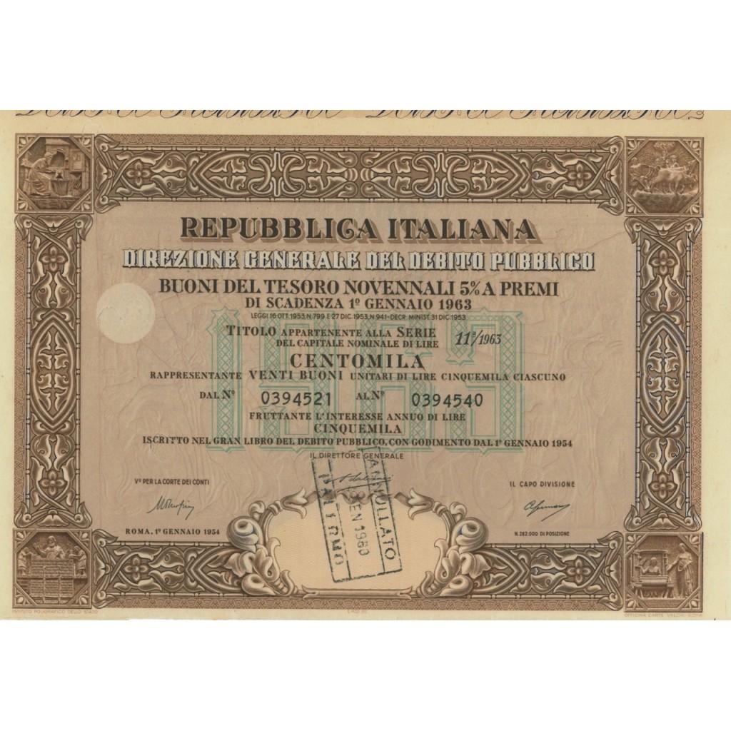 BTP NOVENNALI SERIE 11/1963 - 100000 LIRE ROMA 1954