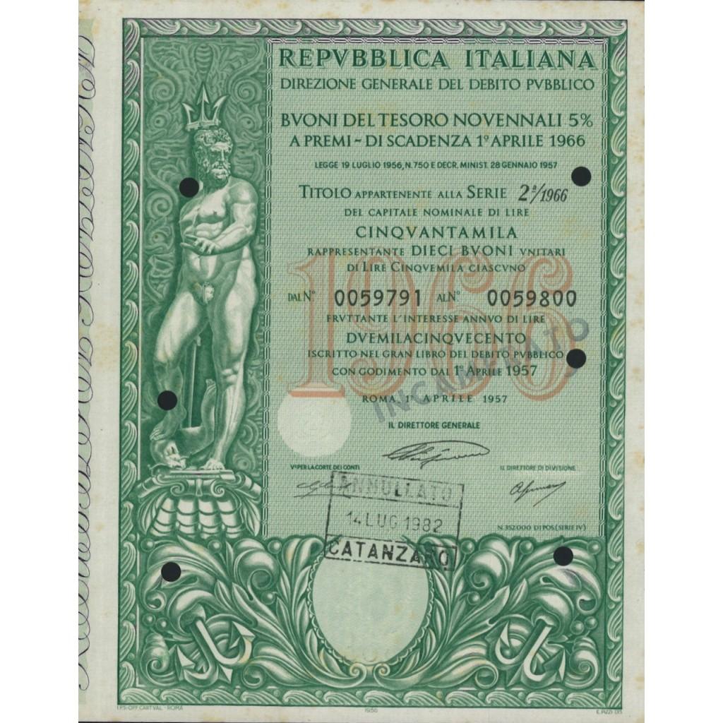 BTP NOVENNALI SERIE 02/1966 - 50000 LIRE ROMA 1957