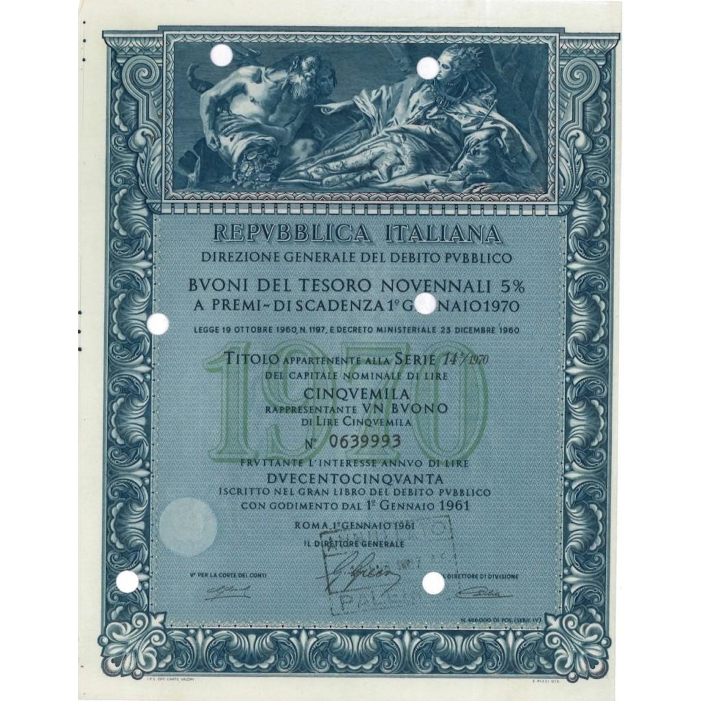 BTP NOVENNALI SERIE 14/1970 - 5000 LIRE ROMA 1961