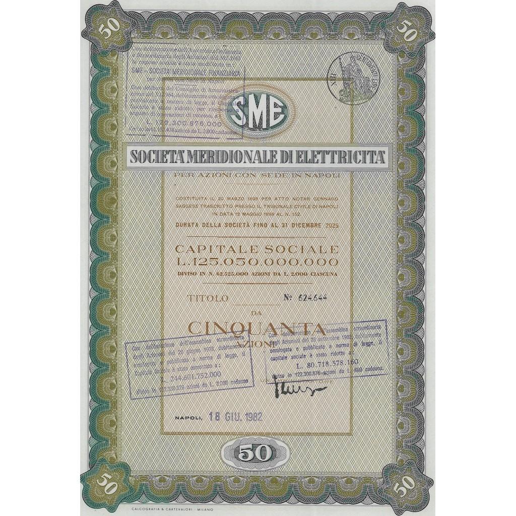 SME MERIDIONALE DI ELETTRICITA` 50 AZIONI NAPOLI 1982