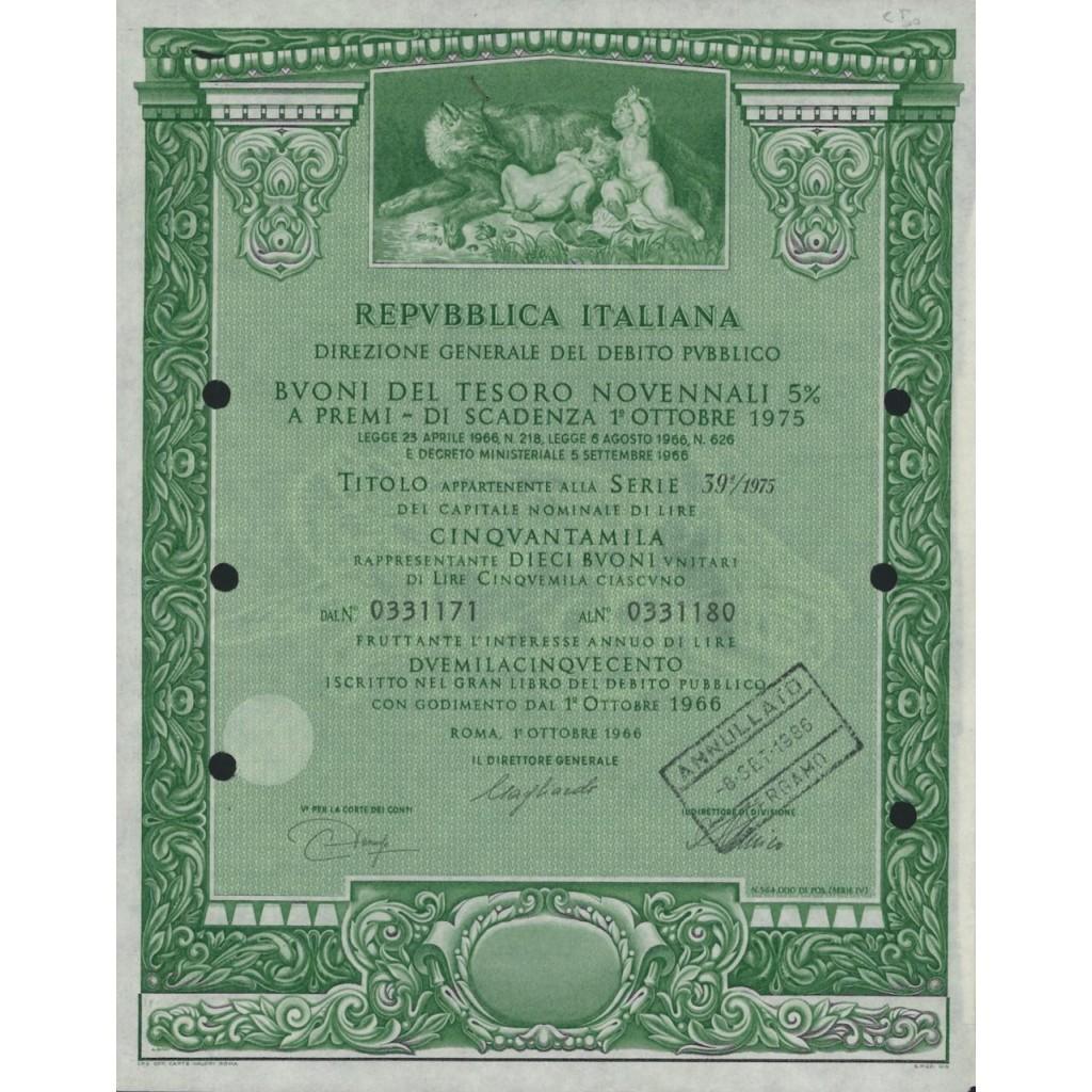 BTP NOVENNALI SERIE 39/1975 - 50000 LIRE ROMA 1966