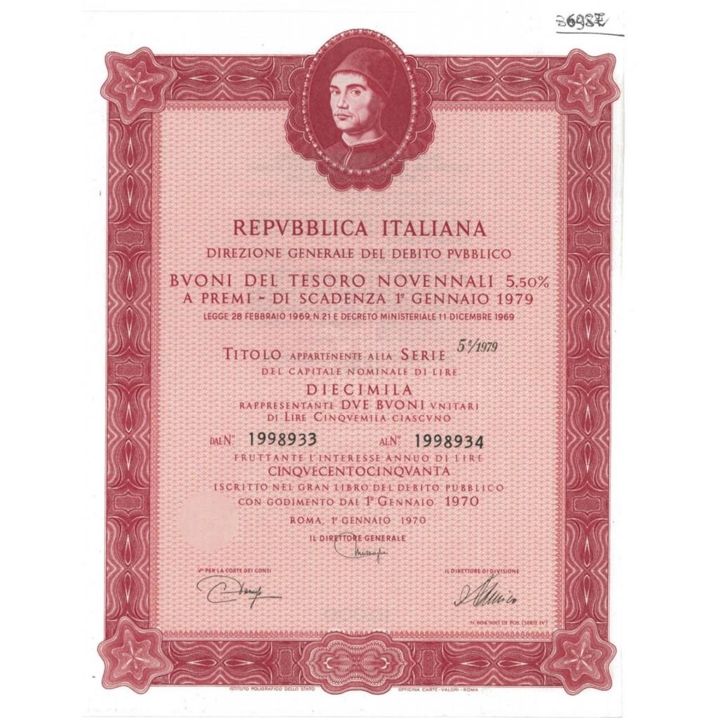 BTP NOVENNALI SERIE 05/1979 - 10000 LIRE ROMA 1970