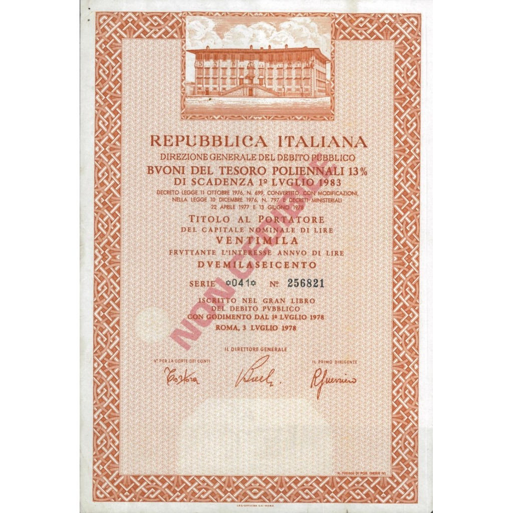 BTP POLIENNALI SERIE 041 - 20000 LIRE ROMA 1978