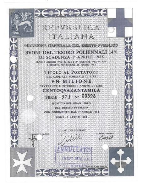 BTP POLIENNALI SERIE 571 LIRE 1000000 ROMA 1984