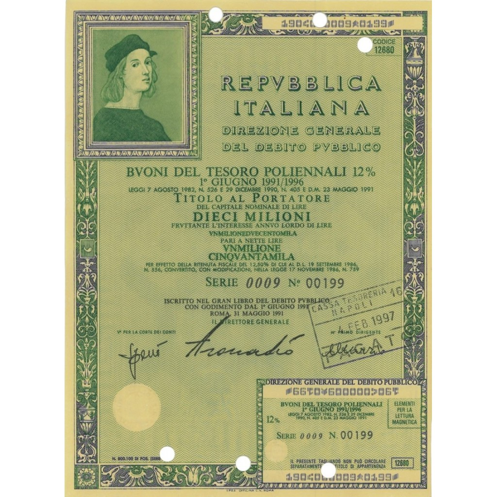 BTP POLIENNALI SERIE 0009 LIRE 10 MILIONI ROMA 1991