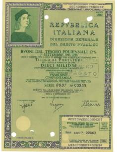 BTP POLIENNALI SERIE 0007 LIRE 10 MILIONI ROMA 1991