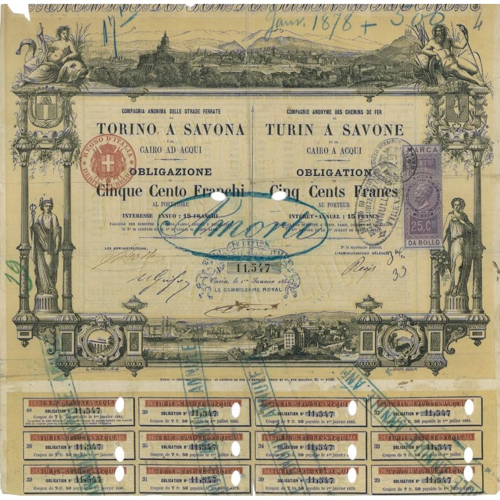 COMP. ANON. DELLE STRADE FERRATE TORINO A SAVONA - 1 OBBLIG. 1864