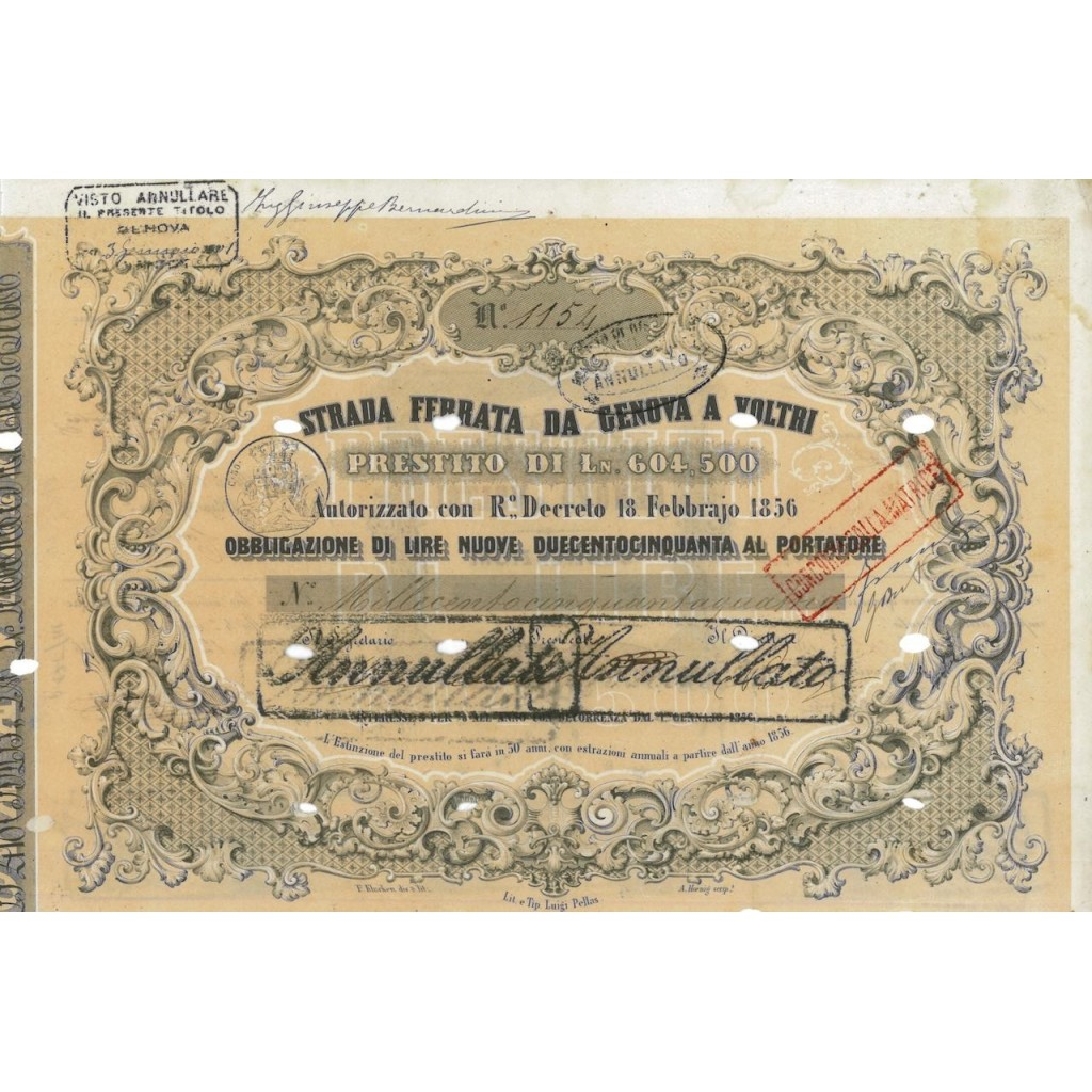 STRADA FERRATA DA GENOVA A VOLTRI - 1 OBBLIG. 1856