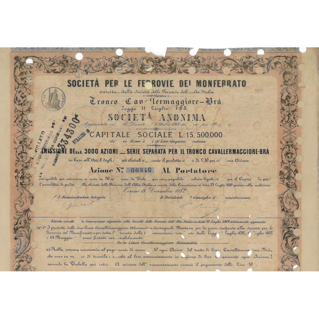 SOC. PER LE FERROVIE DEL MONFERRATO - 1 AZIONE TORINO 1872