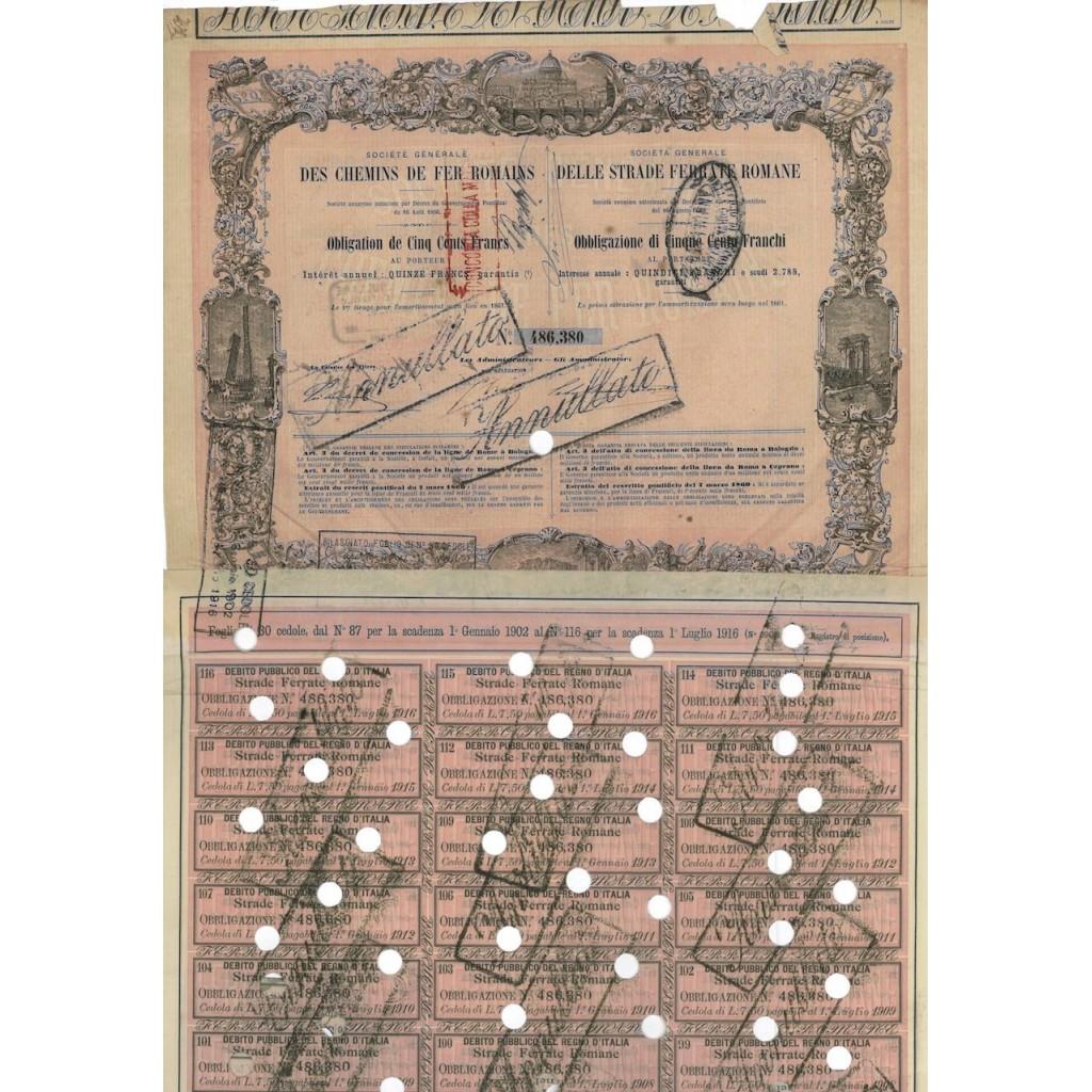SOC. GEN. DELLE STRADE FERRATE ROMANE - 1 OBBLIG. - 1861