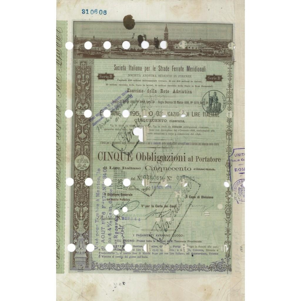 SOC. ITALIANA STRADE FERRATE DEL MERIDIONALI 5 OBBLIG. ROMA 1924