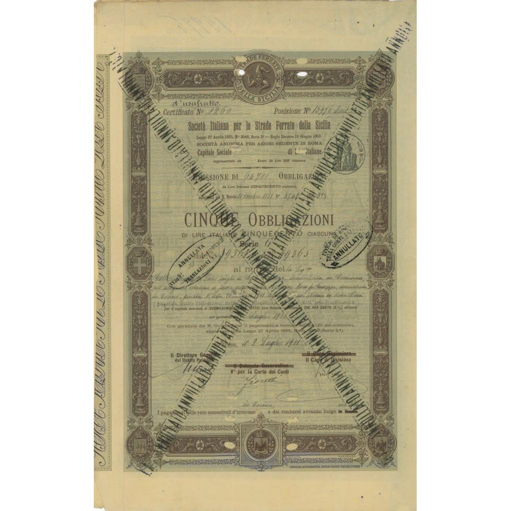SOC. ITA. STRADE FERRATE DELLA SICLIA - 5 OBBLIG. ROMA 1901