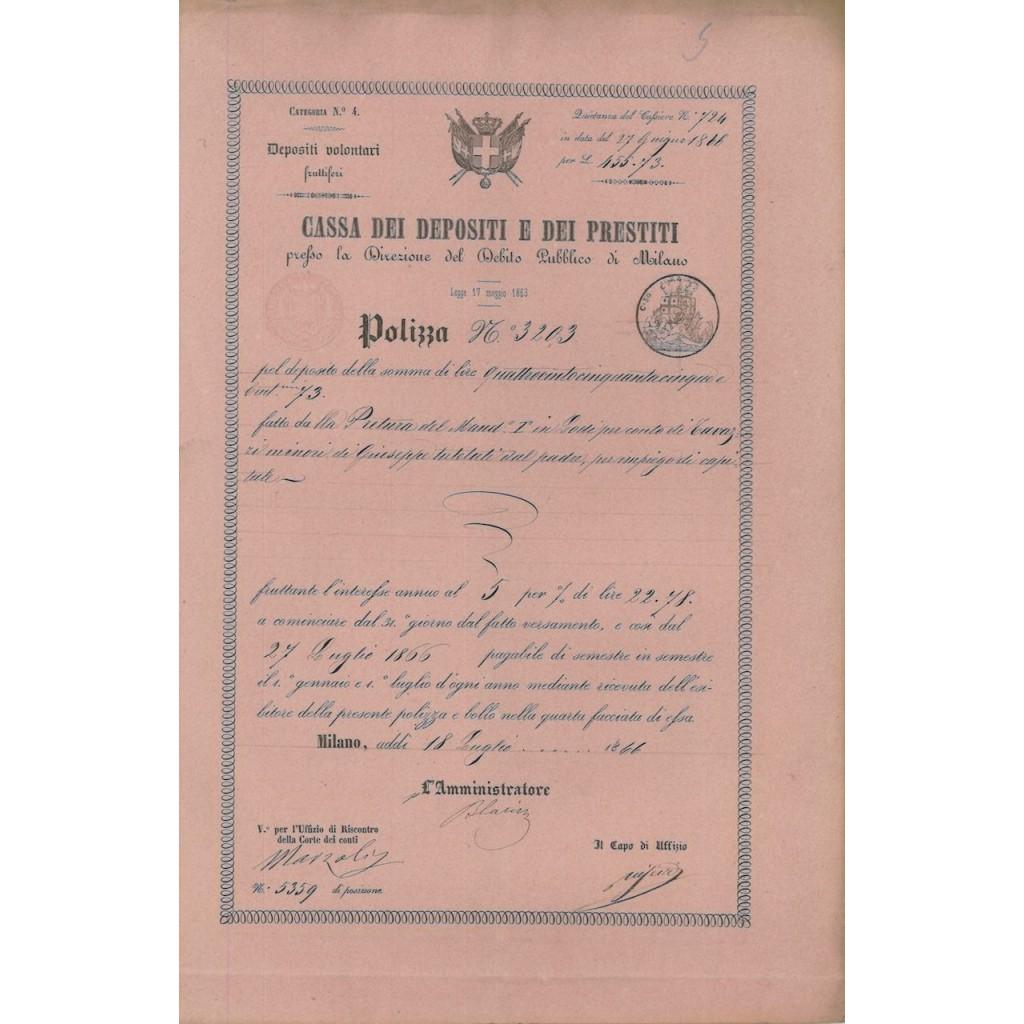 REGNO D'ITALIA CASSA DEPOSITI E PRESTITI - POLIZZA - MILANO 1866