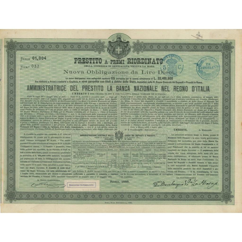 NUOVA OBB. - PRESTITO DUCHESSA BEVILACQUA - ROMA 1888