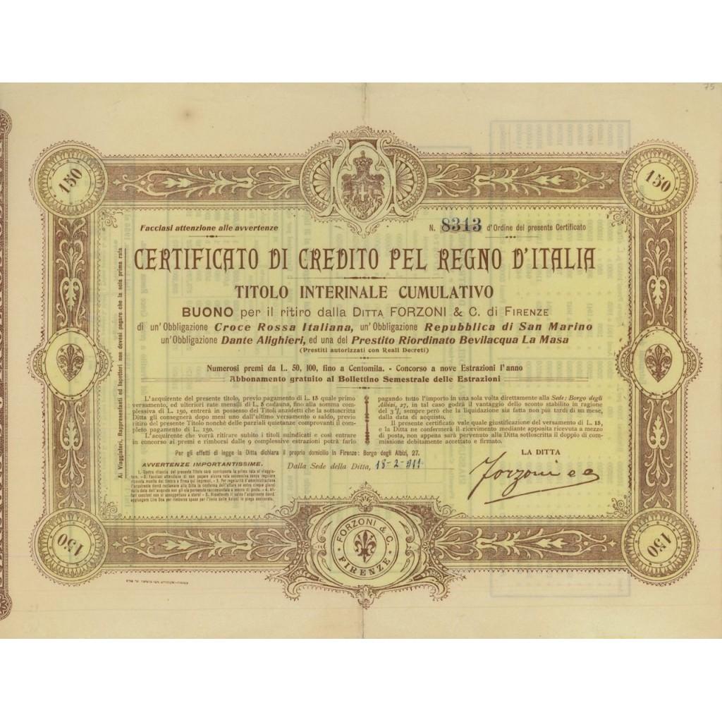 CERT. DI CREDITO TITOLO INTERINALE CUMULATIVO - 1911