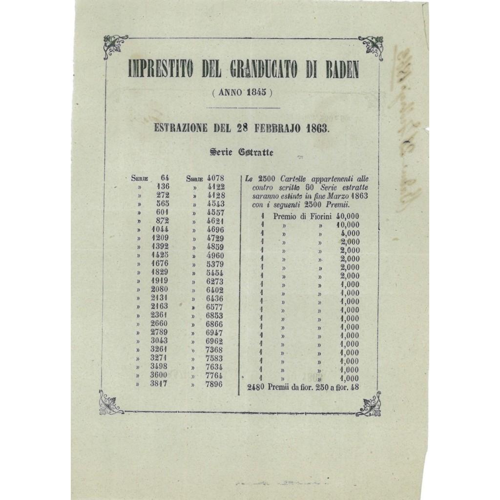 VOLANTINO ESTRAZIONE I. A PREMII GRANDUCATO DI BADEN 1845