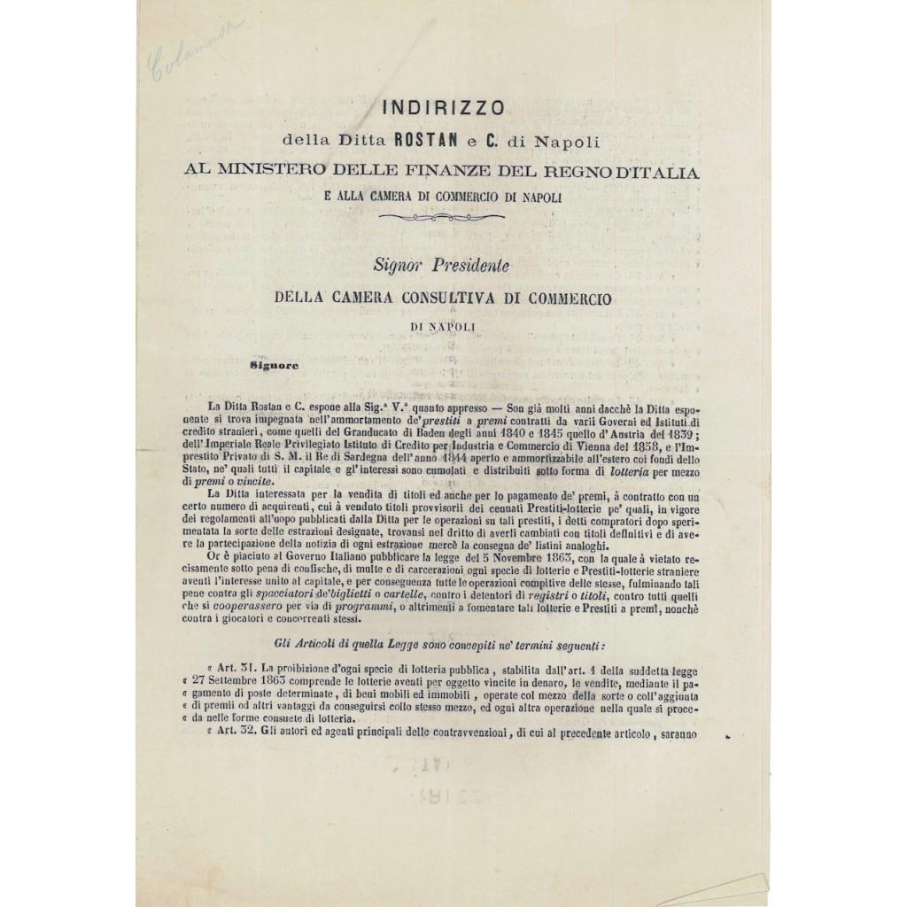LETTERA ROSTAN AL PRES. CAMERA CONSULTIVA DI COMMERCIO - NAPOLI 1864