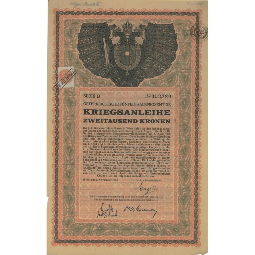 OSTERREICHISCHE FUNFEINHALBPROZENTIGE 2000 KRONEN - 1914