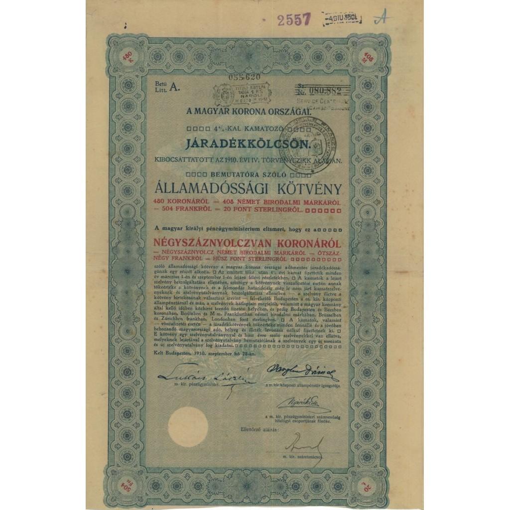 MAGYAR KORONA ORSZAGAI - 480 KORONAROL - BUDAPEST 1910