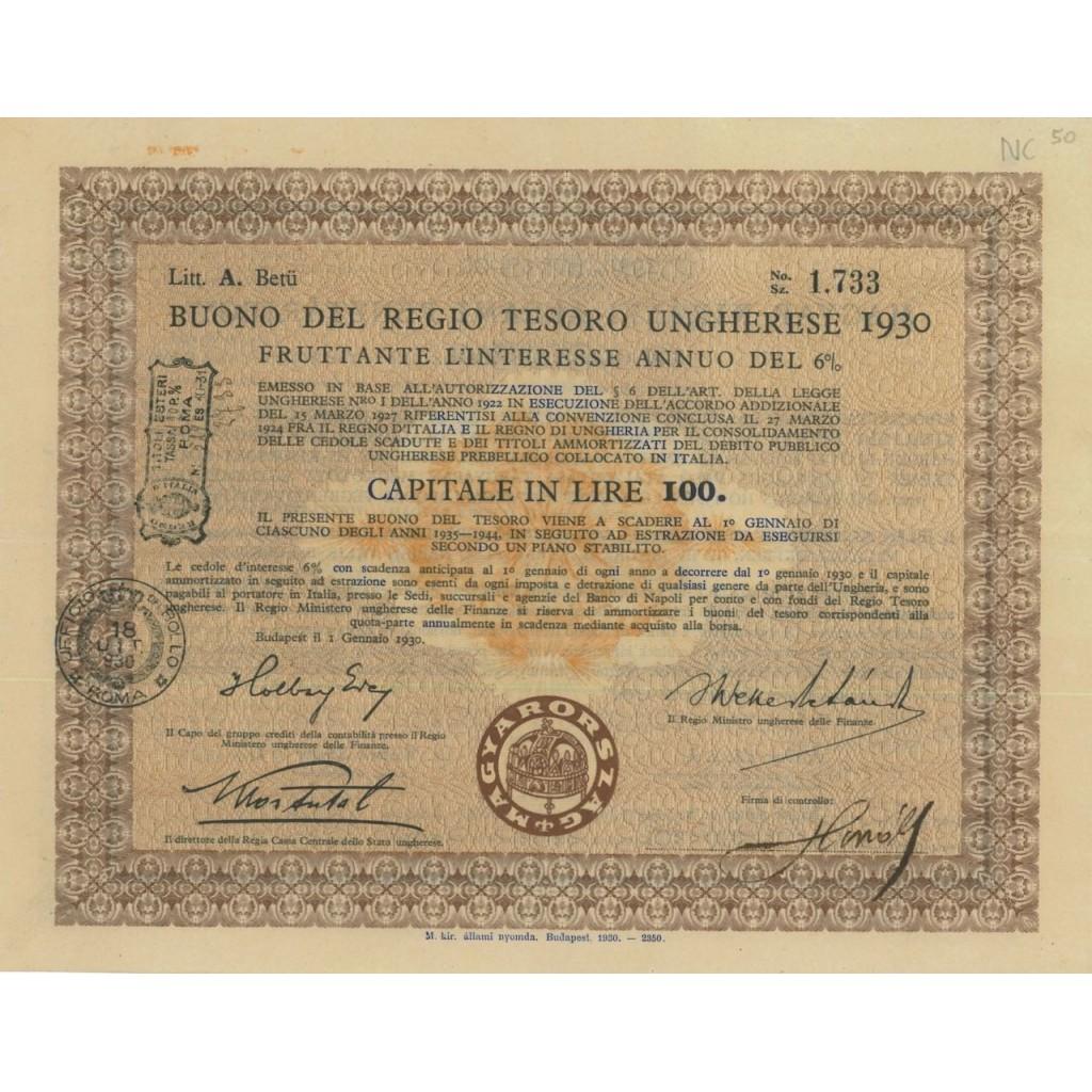 BUONO DEL TESORO UNGHERESE - LIRE 100 - 1930