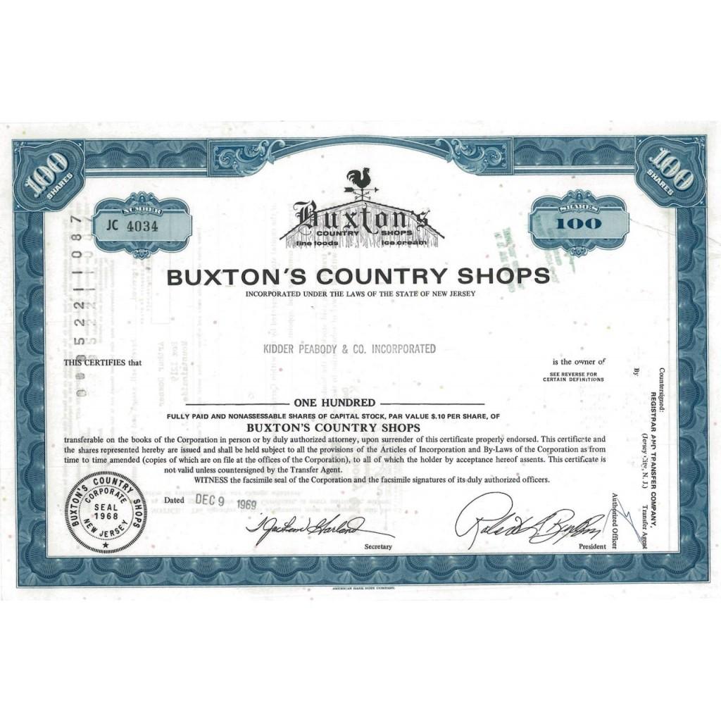 BUXTON'S COUNTRY SHOPS - 100 AZIONI - 1969