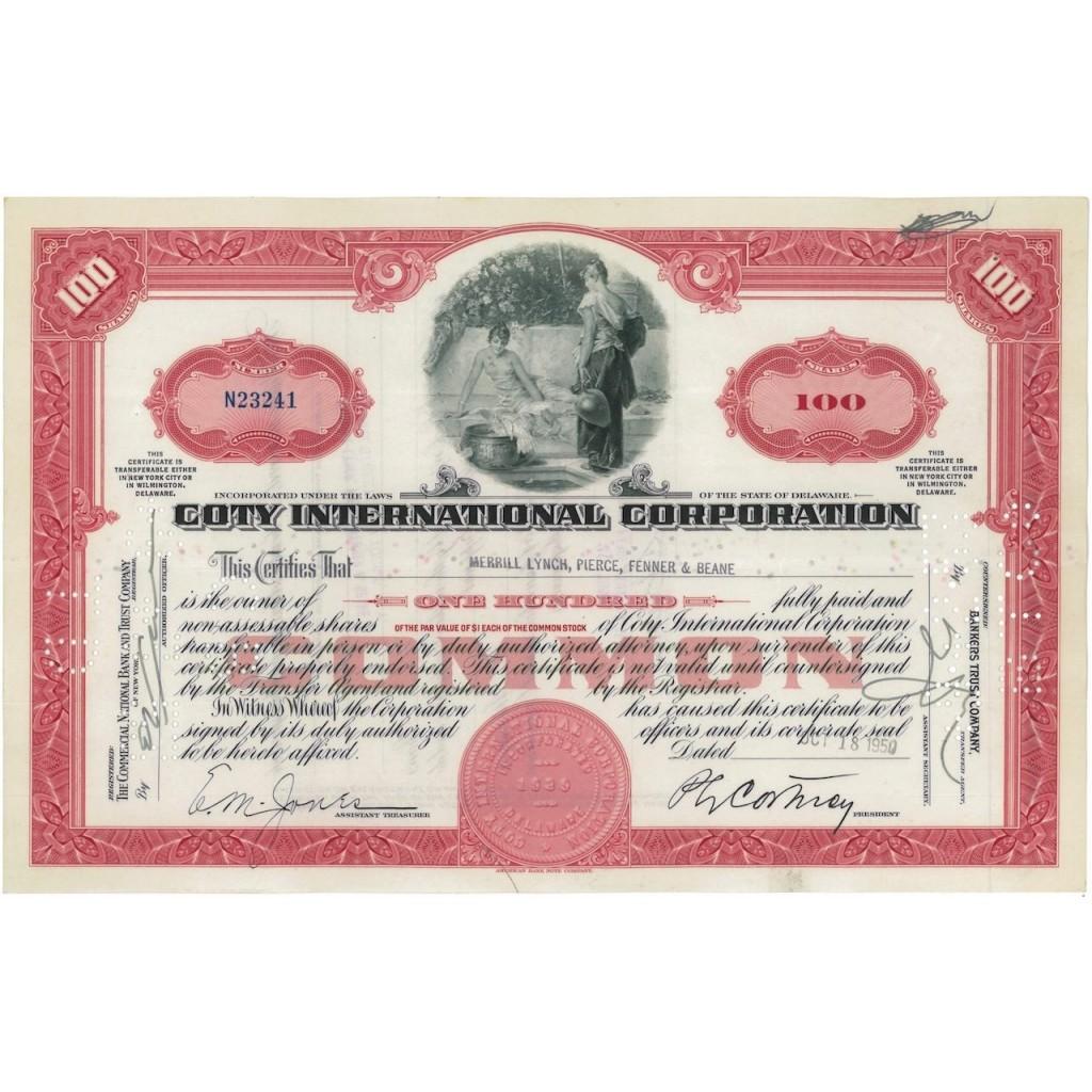 COTY INTERNATIONAL CORPORATION - 100 AZIONI - 1950