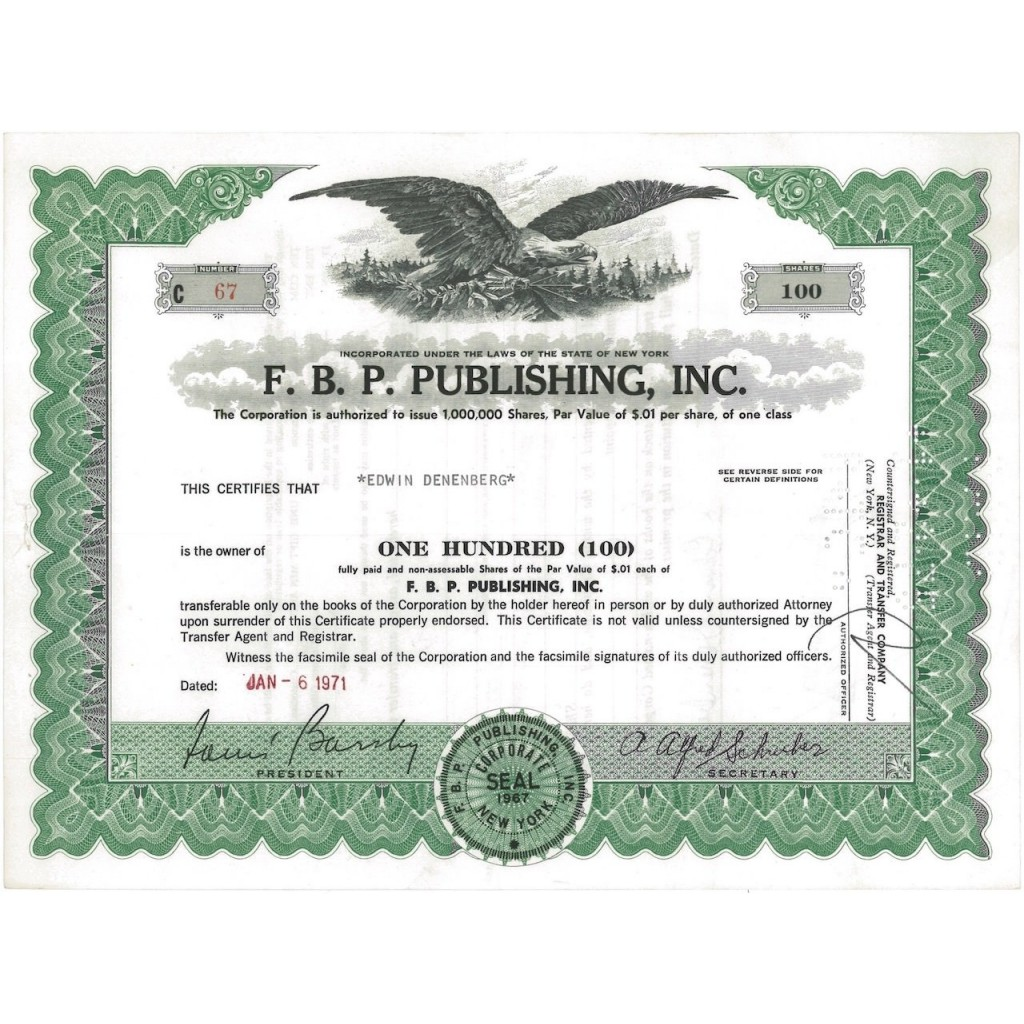 F.B.P. PUBLISHING, INC. 100 AZIONI - 1971