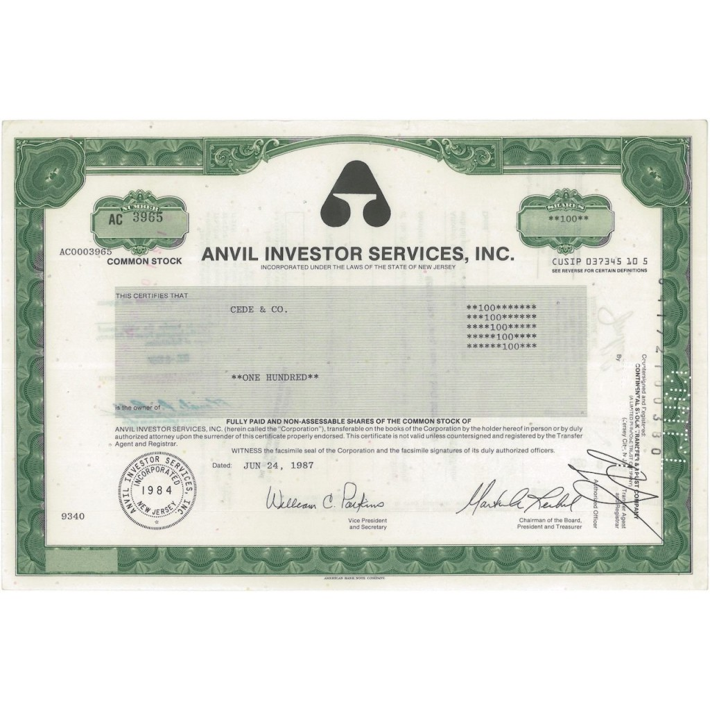 ANVIL INVESTOR SERVICES, INC. - 100 AZIONI - 1987