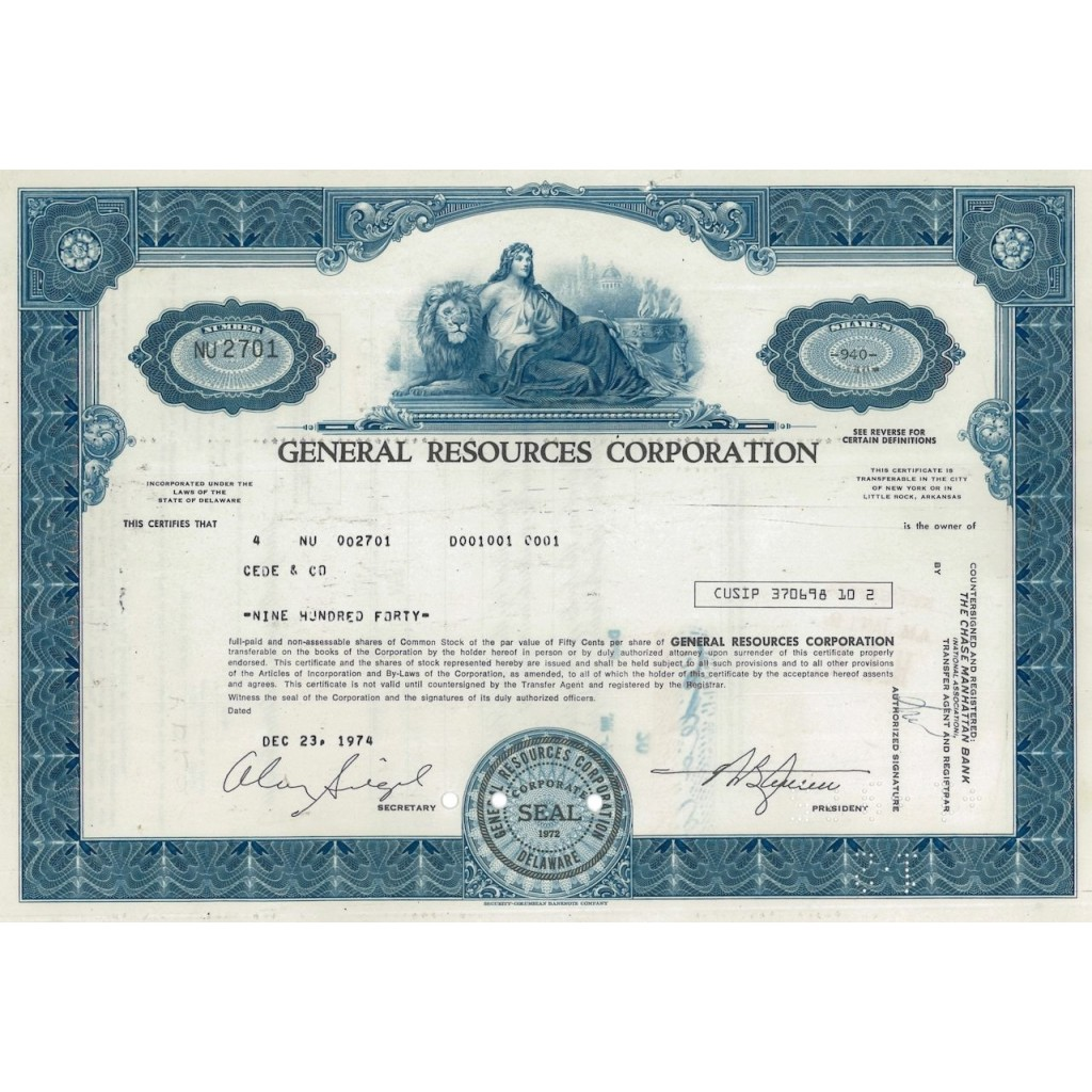 GENERAL RESOURCES CORPORATION - 940 AZIONI - 1974