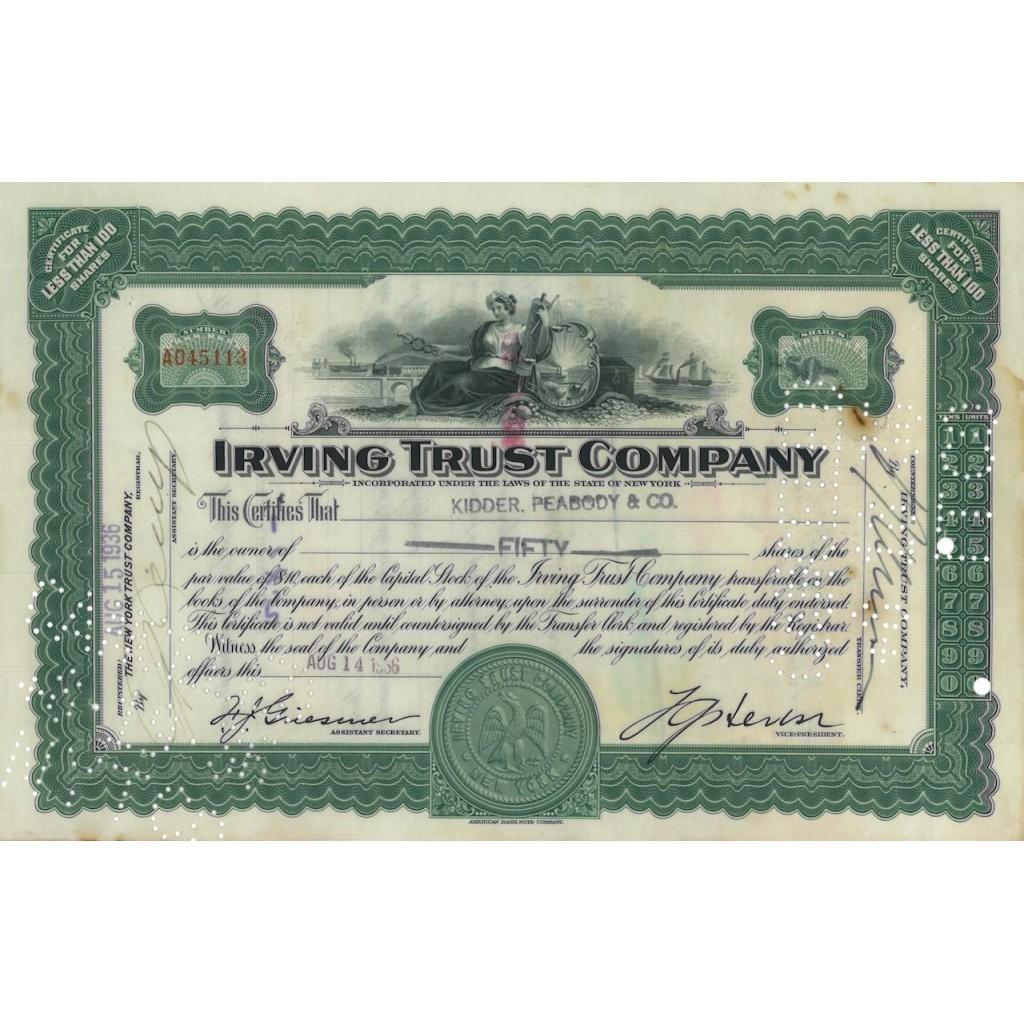 IRVING TRUST COMPANY - 50 AZIONI - 1936