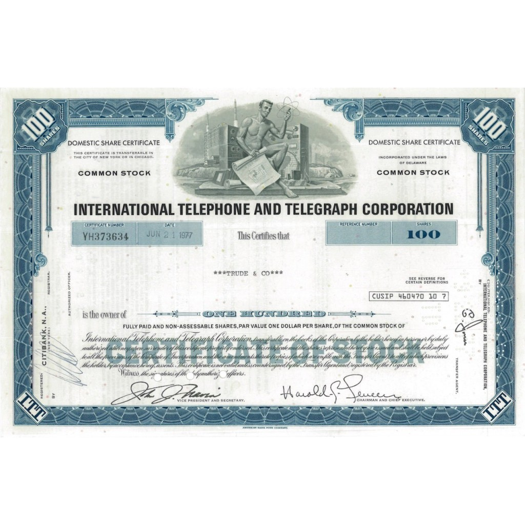 INTERNATIONAL TELEPHONE AND TELEGRAPH CORP. 100 AZIONI - 1972
