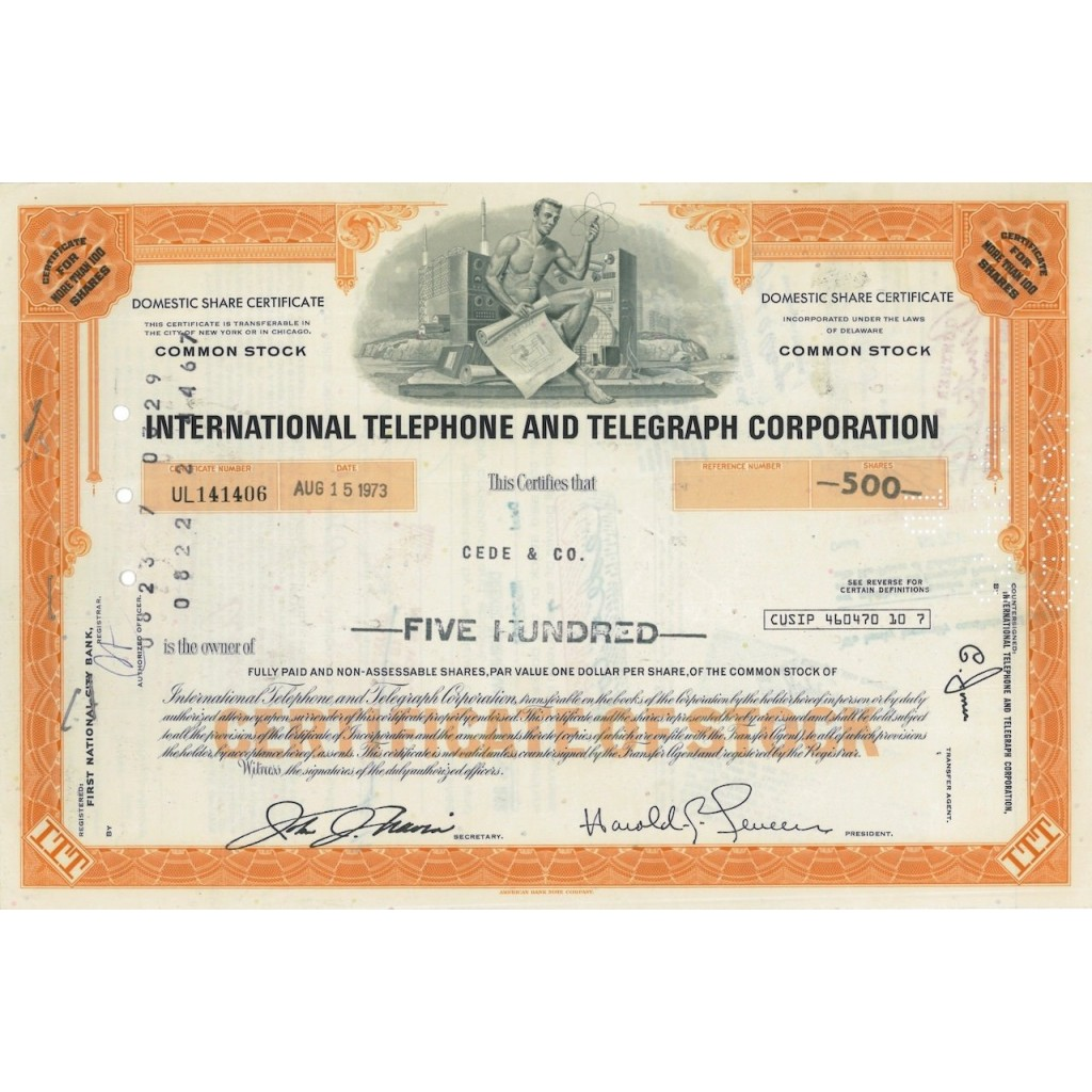 INTERNATIONAL TELEPHONE AND TELEGRAPH CORP. 500 AZIONI - 1973