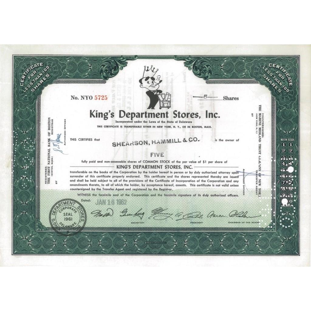 KING'S DEPARTMENT STORES, INC. 5 AZIONI - 1962