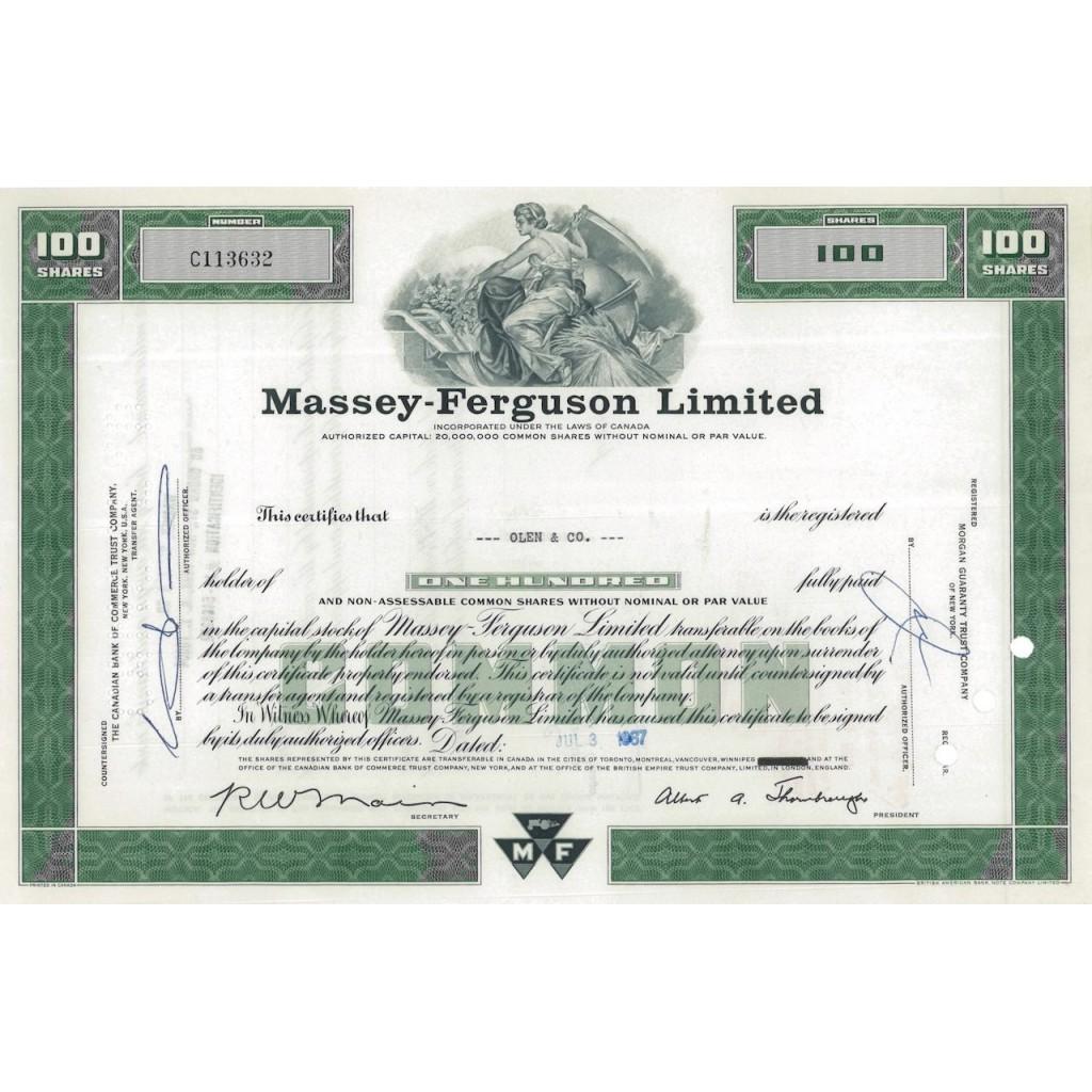 MASSEY-FERGUSON LIMITED - 100 AZIONI - 1967
