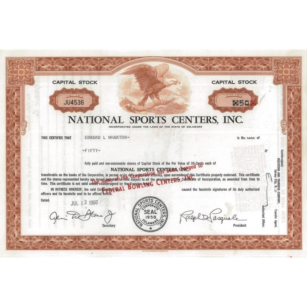 NATIONAL SPORTS CENTERS, INC. - 50 AZIONI - 1960